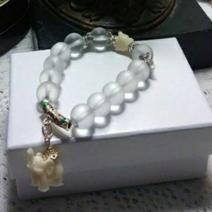 Flexible Elephant Bracelet w/ Quartz Crystal Beads